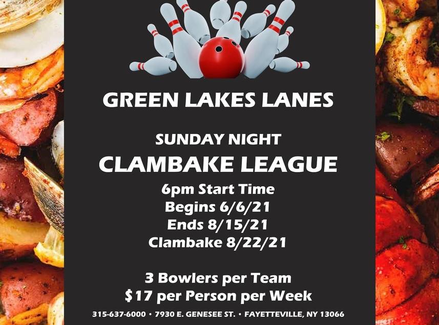 CLAMBAKE LEAGUE at Green Lakes Lanes