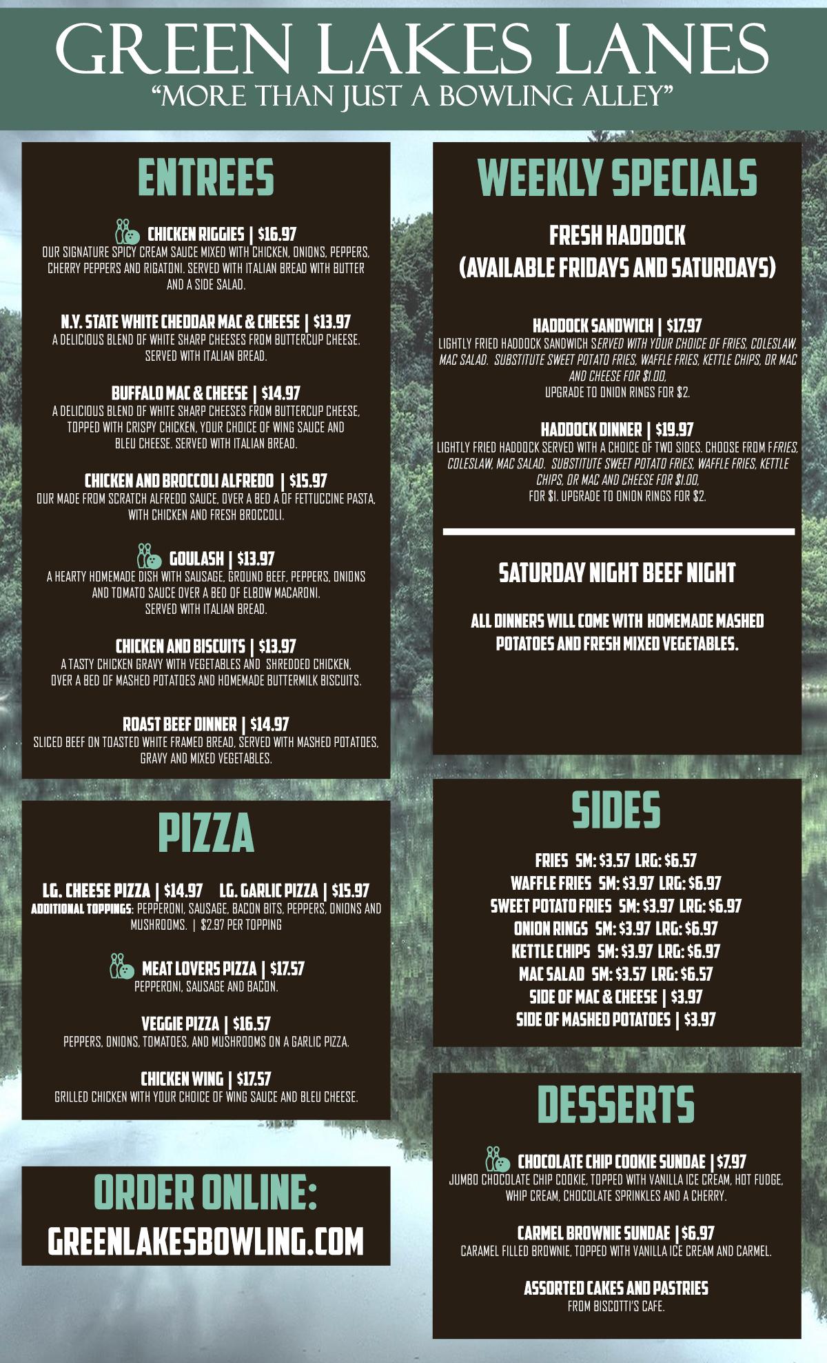 Back Page of menu