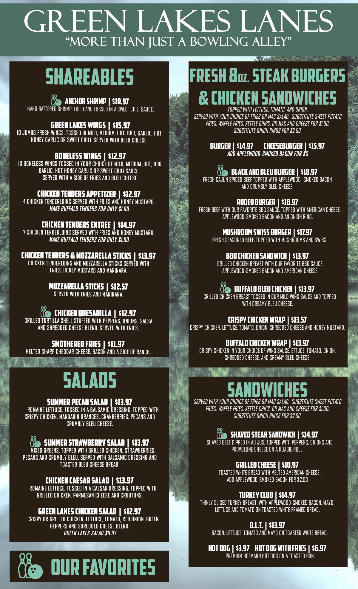 Front Page of menu